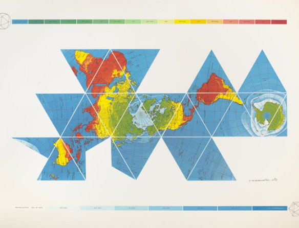 """An air-ocean map by R. Buckminster Fuller from the exhibit currently at SF MOMA """"The Utopian Impulse"""